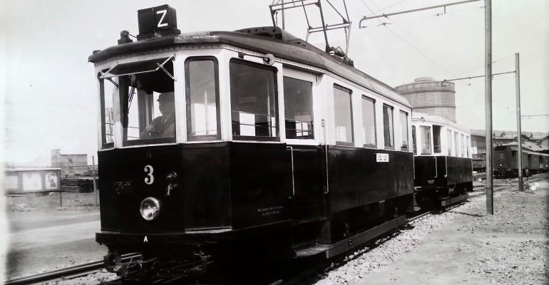 Elektrický motorový vůz č. 3 před remízou u výtopny VZD, 1947. Foto: Archiv Vítkovice, a. s.