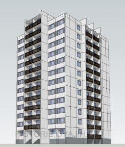 3D model věžového domu T06B-BTS