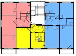Koncová sekce si může dovolit okno i na štítu (vlevo) a díky tomu přidat prostřední místnost v krajním bytě
