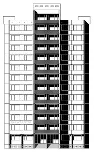 Architektonický pohled – hlavní průčelí
