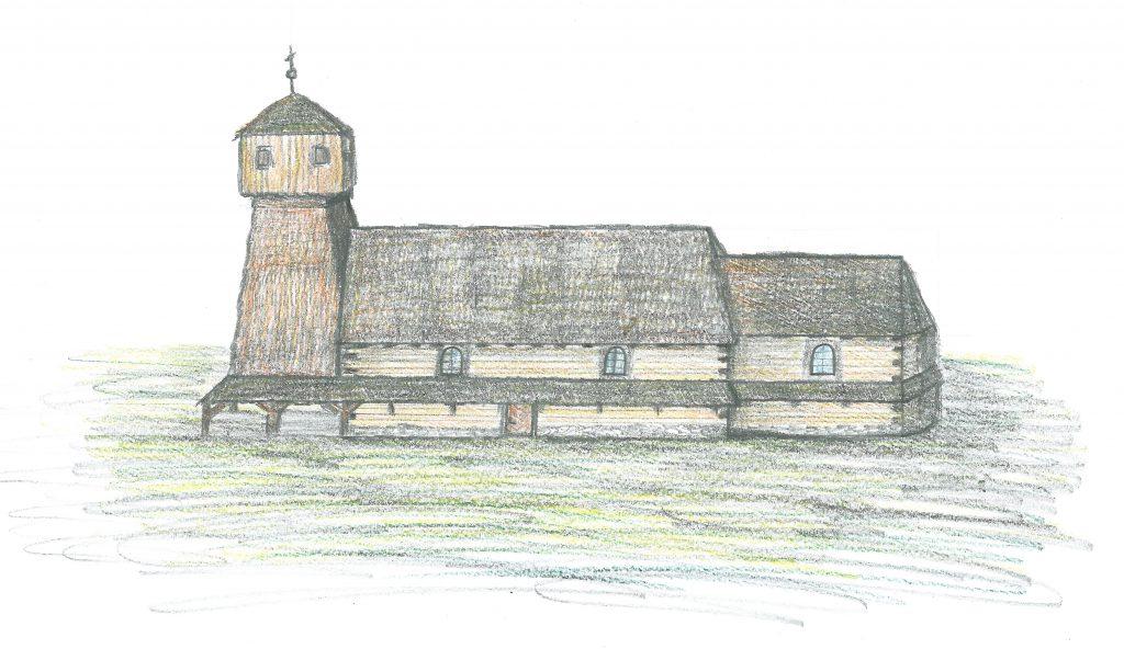 Možná podoba dřevěného kostela v 18. století.